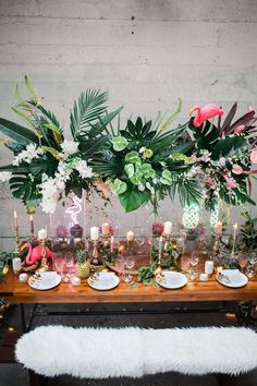 This unexpected mix of tropical and industrial styles will leave you swooning! Tropical florals loaded into a warehouse loft venue make for an unexpected twist. Gold details help bring it all together with a touch of elegance. Tropical Home Decor, Tropical Party, Tropical Furniture, Tropical Interior, Tropical Colors, Tropical House Design, Tropical Vibes, Tropical Houses, Tropical Leaves