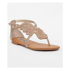 Naughty Monkey Give Me Wings Sandal ($56) ❤ liked on Polyvore featuring shoes, sandals, gold, champagne shoes, beaded shoes, champagne sandals, naughty monkey shoes and winged sandals