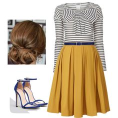 A fashion look from September 2014 featuring Orla Kiely skirts, Stuart Weitzman sandals and Jacob Cohёn belts. Browse and shop related looks.