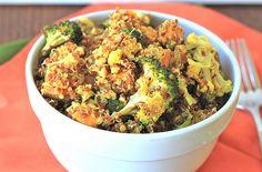 Roasted Broccoli and Sweet Potato Curry Quinoa Bowl