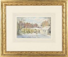 """aquarelle sur papier de Stanley Roy BADMIN (1906-1989) """"Stopham Bridge under Snow"""" sbg et daté 1985. <br>14.8x24.2 cm  <br> <br>Paintings    <br>Tableaux - Encadrés"""