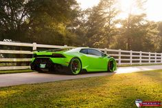 Neon Green Lamborghini Huracan Rolling on Colormatched ADV1 Wheels #lamborghinihuracangreen