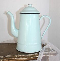 Vintage French Shabby Aqua Blue Enamelware Coffeepot