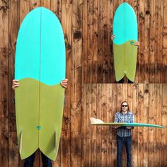 5'6 Driftwood Caravan Surfboards SHIM FISH with eps construction and Kelp / Aqua air spray