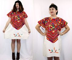 Vintage 70s Artisan Embroidered DASHIKI South American Poncho Tunic Dress, $118