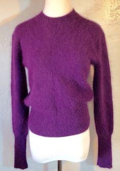 Acne Lia Angora Crop Sweater Winter Plum Purple Size XS #Acne #Crewneck
