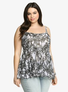 Plus Size Palm Tree Chiffon Babydoll Tank Top