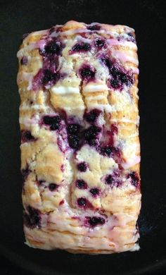 Lemon Blueberry Bread ~ A soft, moist bread studded with blueberries and brightened with lemon, drizzled with a sweet lemon glaze