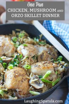 Creamy One Skillet Chicken with Mushrooms and Orzo! Do we ever tire of these 30 minute dinners? I have been cooking them a lot lately. Mostly because I am so freakin' tired of baked chicken Easy Skillet Dinner, Skillet Dinners, Easy Dinners, Baked Chicken Breast, Chicken Breasts, Chicken Thighs, Dinner Entrees, Dinner Recipes, Dinner Ideas
