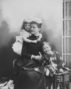 The Duchess of Albany with Princess Alice and Charles Edward, Duke of Albany