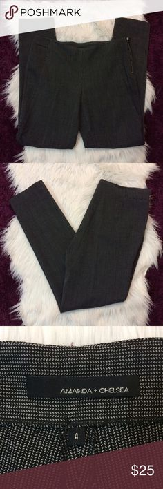 Herringbone Pants Amanda and Chelsea herringbone work trousers. Size 4. Small stain at the very bottom of the leg but not noticeable. Waist is 16.5 across, inseam is 30, rise is 9. 63% polyester, 33% viscose, 4% spandex. Open to offers and 30% off bundles! Amanda + Chelsea Pants