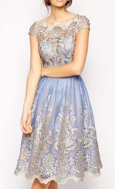 Chi Chi London Premium Metallic Lace Prom Dress with Bardot Neck - Cornflower