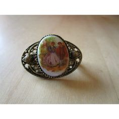 """vintage goldtone small oval brooch with Fragonard centre 1.25""""beautiful conditio"""
