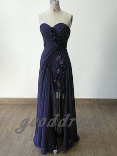 Sexy Sweetheart Blue Handmade Flower Chiffon High Low Formal Long Evening/Prom/Party/Bridesmaid/Homecoming/Cocktail Dress