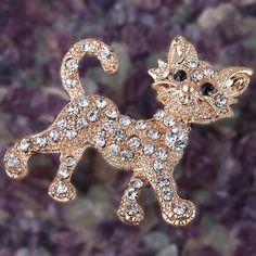2016 Nuevo oro Brillante de Tigre de regalo de boda de la vendimia de lujo Del Rhinestone lleno broche de joyería fina y broches de la manera para las mujeres