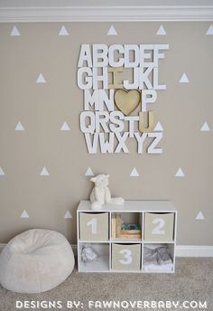 Room in a Box, Neutral Nursery, 6 Piece Nursery, Gender Neutral Nursery, triangle decals, alphabet wall letters, tan and white, gold decor