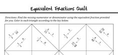 Excellent worksheet to help students practice with equivalent fractions.   Equivalent Fractions Self-Checking Quilt Activity - Breeze Through Math - TeachersPayTeachers.com 5.NF.1 Use equivalent fractions as a strategy to add and subtract fractions.  1. Add and subtract fractions with unlike denominators (including mixed numbers) by replacing given fractions with equivalent fractions in such a way as to produce an equivalent sum or difference of fractions with like denominators.