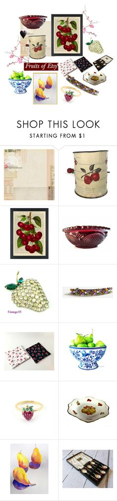 """Fruits of Etsy"" by muskrosevintage ❤ liked on Polyvore featuring interior, interiors, interior design, home, home decor, interior decorating, Blanca, kitchen and vintage"