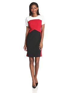 Anne Klein Women's Short-Sleeve Color-Block Sheath Dress   $ 129.00  #Anne, #Colorblock, #Dress, #Klein, #Sheath, #ShortSleeve, #WomenS