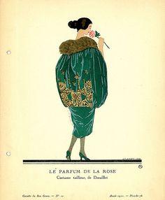 Le Parfum de la Rose | Costume tailleur, de Doeuillet.    Illustrator: Marty, Andre-Edouard, 1882-1974    Designer: Doeuillet    Date: 1920