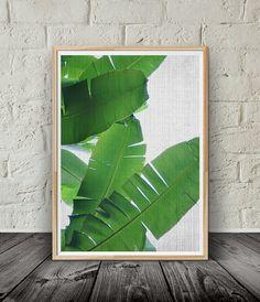 Banana Leaf Print Tropical Decor Plant Botanical by PinkLemonArts