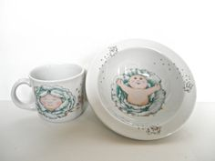 Vintage Cabbage Patch Kids Bowl and Cup by ShoppeAroundTheWorld on Etsy / Royal Worchester China