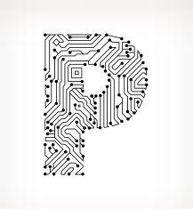 Letter B Circuit Board on White Background vector art