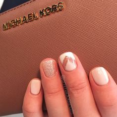 Nails gel nails mani manicure short nails cute nails pretty nails nail design nail art gel polish negative space nails glitter nails nude nails wedding nails emmadoesnails