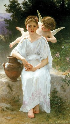 "WILLIAM ADOLPHE BOUGUEREAU (1825-1905)  ""WHISPERINGS OF LOVE, 1889"""