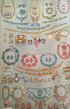 1958 Jewelry- Evening jewelry up top, day to day gold sets at the bottom