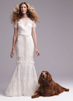 Evelyn Chantilly-lace mermaid gown with ribbon waist detail by Carolina Herrera, $4,490
