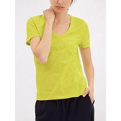 This is an idea for a casual outfit that isn't sportswear. This is a great colour for you. You could wear it with the kind of trousers I've shown here on yoru board. Buy Jaeger Short Sleeve Cotton T-shirt, Lime Online at johnlewis.com