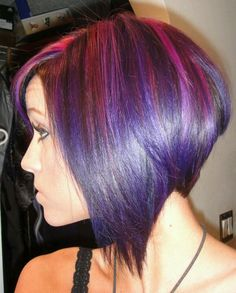 Loving this long bob with colored highlights. Hair Color Purple, Brown Hair Colors, New Haircuts, Bob Hairstyles, Colored Highlights, Light Blonde, Long Bob, Ombre Hair, Haircut Bob