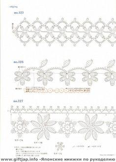 Crochet and arts: Ondori motif edging designs and craft books: motif & edging designs magazine, free crochet books - crafts ideas - crafts for kidsmotif & edging design - - Álbuns da web do PicasaCrochet Knitting Handicraft: patterns of fragments w Crochet Border Patterns, Crochet Lace Edging, Crochet Diy, Crochet Motifs, Crochet Diagram, Crochet Books, Crochet Chart, Irish Crochet, Crochet Doilies