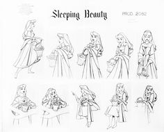"vintagegal: ""Model sheets for the character of Aurora in Disney's Sleeping Beauty (1959) """