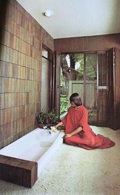 """Excerpt from """"Planning and Remodeling Bathrooms,"""" 1975 1970s Decor, Retro Home Decor, Vintage Interior Design, Vintage Interiors, Vintage Bathrooms, Dream Bathrooms, Small Bathrooms, Japanese Bath House, Nostalgia"""