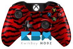 Red Tiger Camo Xbox One Controller - KwikBoy Modz #redtigercamo #tigerstripe #customXboxOneController #XboxOneController #gaming #gamer #customcontroller