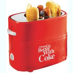 Hot Dog and Bun toaster. I want one. It would be perfect since I usually eat two.