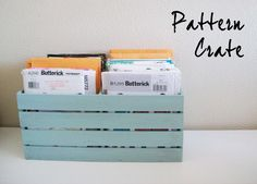 Running With Scissors: Simple Crate for Sewing Patterns Small Sewing Space, Pallet Crates, Pallet Wood, Wood Pallets, Quilting Room, Crate Storage, My Sewing Room, Diy Pallet Projects, Wood Projects