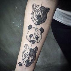 wolf bear panda inner arm tattoos