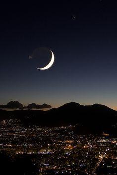 Sicily, Italy  the moon and Jupiter