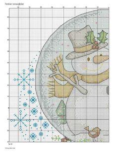 PATRONES PUNTO DE CRUZ GRATIS: Gráfico de un lindo muñeco de nieve navideño a punto de cruz