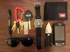 • Seiko 5 Sports SNZG15J1 • Nylon Diesel wallet • Dajo Ascent knife • Leatherman Micra w/ keys on plastic carabiner from REI • Jack & Jones sunglasses fromAsos • 100 yr. old HTC Droid Eris phone • Pilot G-2 .07mm pen