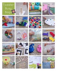Toddler busy bags (she did an exchange where 20 people made 20 bags each, then traded... Each person ended up with 20 little activity bags for their toddler; Preschool bag ideas also...) totally should do this