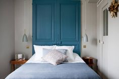 my scandinavian home: My stay at the beautiful Hotel Henriette, Paris (bedroom in blues and grey). Paris Hotels, Hotel Paris, Paris Rue, Paris France, Hotel Henriette Paris, Pastel Bedroom, Blue Bedroom, Design Your Bedroom, Paris Design