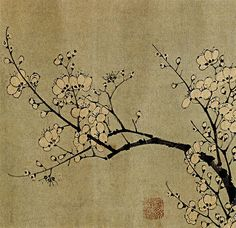 'Plum Blossoms' scroll  *by Sun Long & Chen Lu, Early Ming Dynasty (1368–1644)