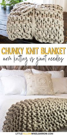 Before you try Arm knitting check out this comparison. If you want to DIY a chunky knit blanket without gaps and holes, you might want to knit your blanket up with larger needles. We compare arm knitting and large needle knitting to see which one works Diy Knitting Needles, Giant Knitting, Arm Knitting, Knitting Patterns, Crochet Patterns, Beginner Knitting, Knitting Ideas, Chunky Yarn Blanket, Knitted Blankets