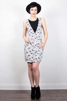 Vintage White Floral Dress Mini Dress 1990s Dress 90s Dress Overalls Dress Pinafore Denim Jumper Dress Deep V Neck Soft Grunge Dress S Small by ShopTwitchVintage #vintage #etsy #90s #1990s #dress #mini #overalls #dungarees #jumper #denim #grunge #softgrunge