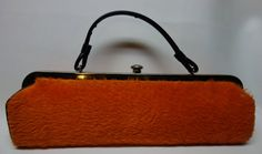 60s Cool Orange Fuzzy Freighttrain length MOD Bag by Vintageables, $149.00