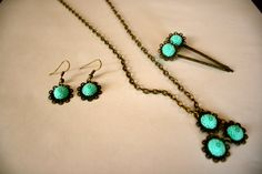Resin Flower Necklace Earring and Hair accessory set by TKDShop, $15.00